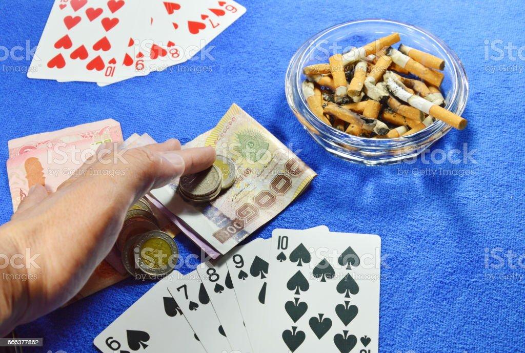winner poker game grabbing all money stock photo