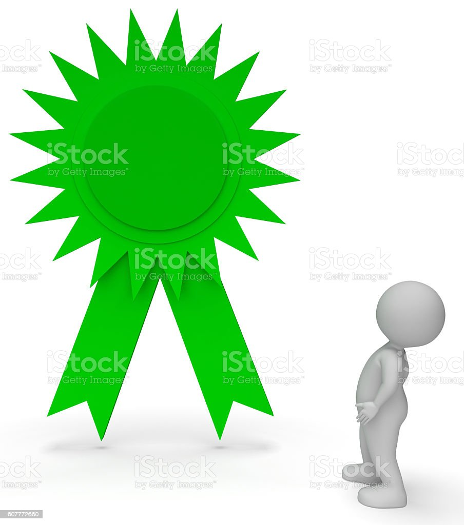 Winner Rosette Represents Victory Victorious And Finish 3d Rende stock photo