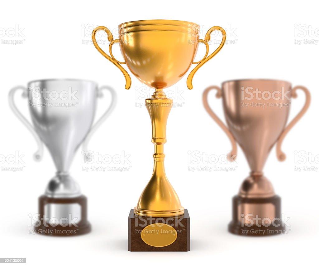 Winner trophies stock photo