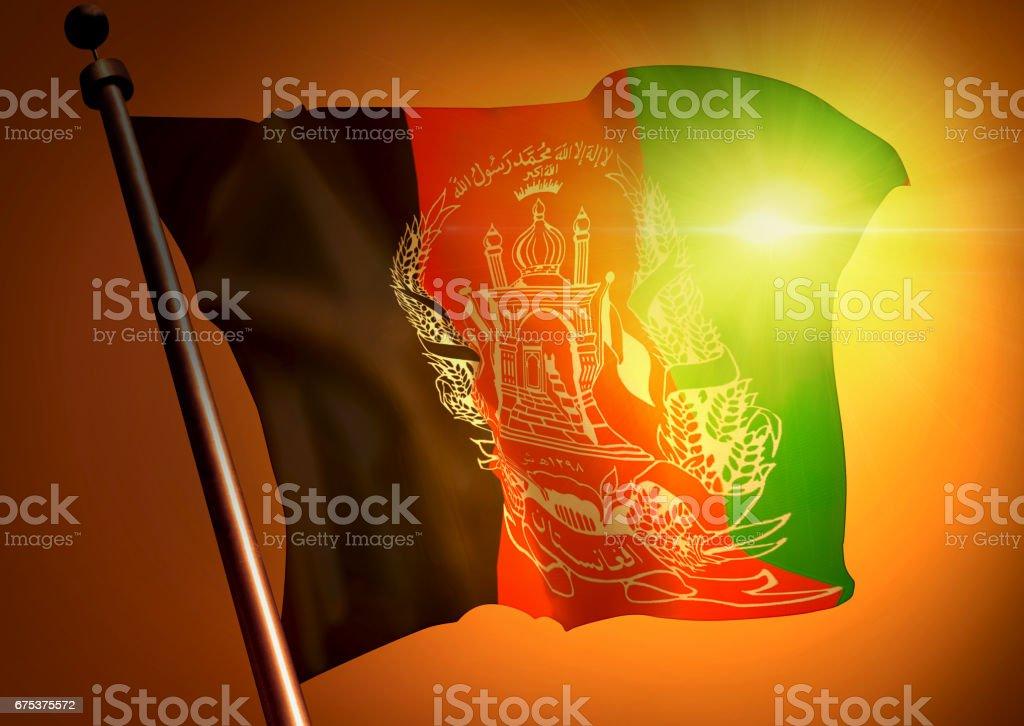 winner waving Afganistan flag against the sunset stock photo