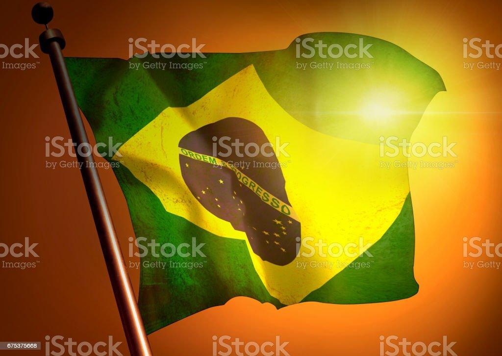 winner waving Brazil flag against the sunset stock photo