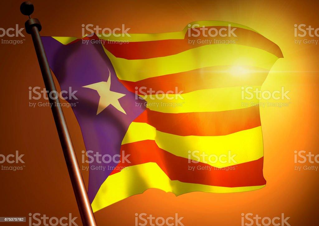 winner waving Catalonia flag against the sunset stock photo