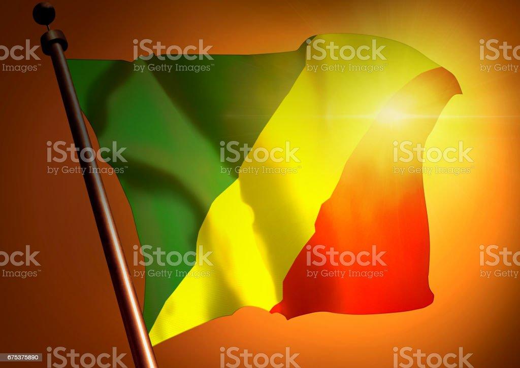 winner waving Congo Republic flag against the sunset stock photo