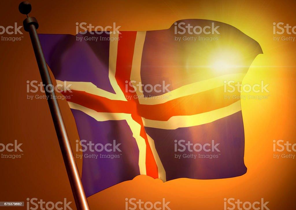 winner waving Iceland flag against the sunset stock photo