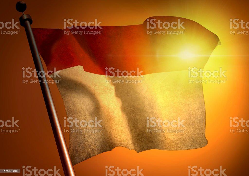 winner waving Indonesia flag against the sunset stock photo