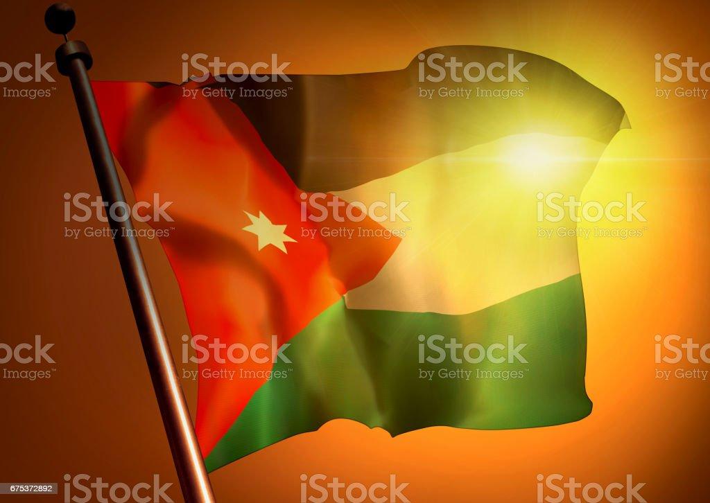 winner waving Jordan flag against the sunset stock photo