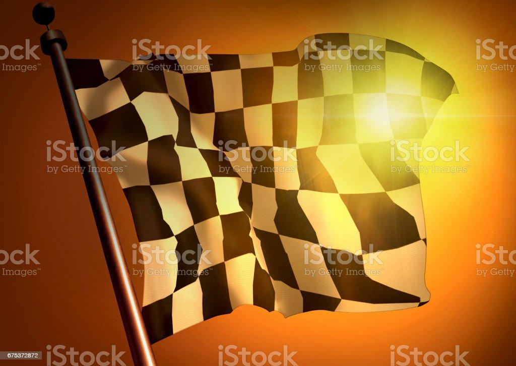winner waving Racing flag against the sunset stock photo
