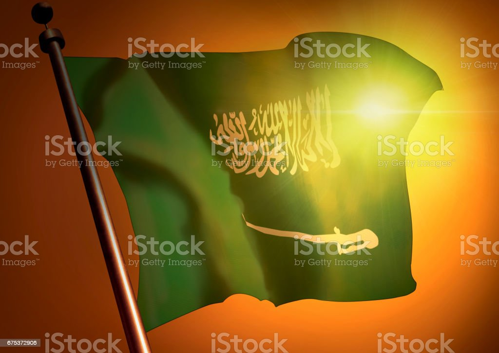 winner waving Saudi Arabia flag against the sunset stock photo