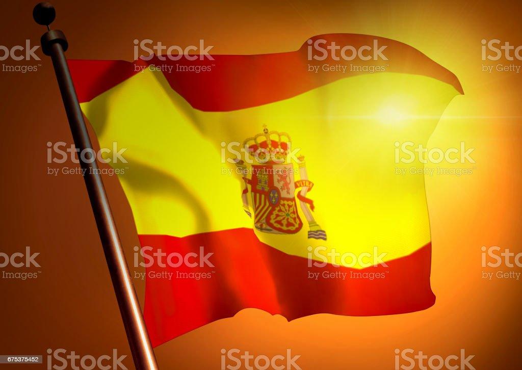 winner waving Spain flag against the sunset stock photo