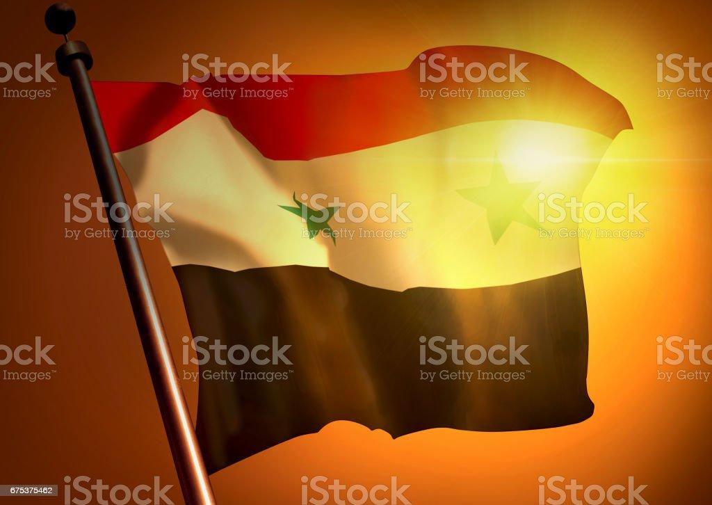 winner waving Syria flag against the sunset stock photo
