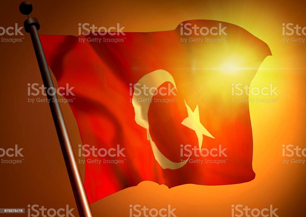 winner waving Turkey flag against the sunset stock photo