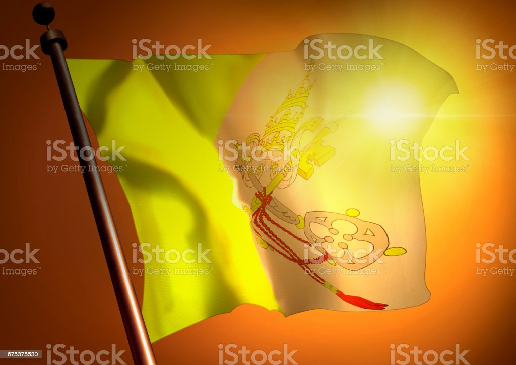 winner waving Vatican City flag against the sunset stock photo