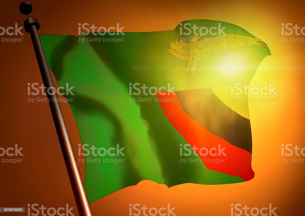 winner waving Zambia flag against the sunset stock photo