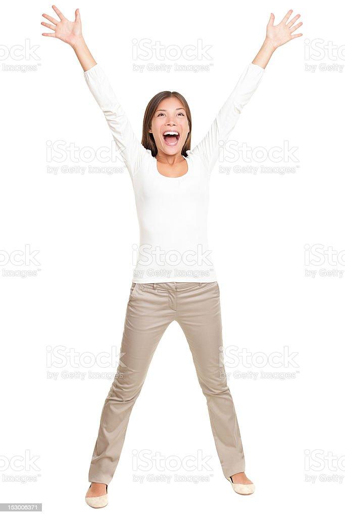 Winner - winning happy woman on white royalty-free stock photo