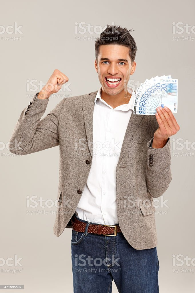 Winner with lot of money royalty-free stock photo