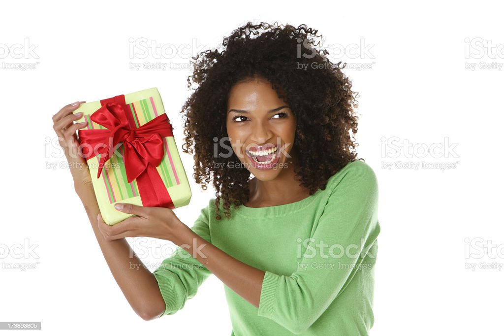 Winner with the gift stock photo