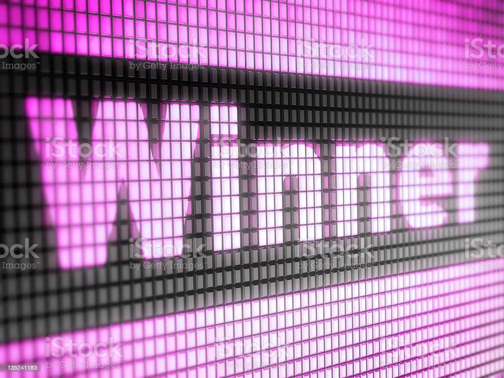 Winner written with pixelated purple lights stock photo