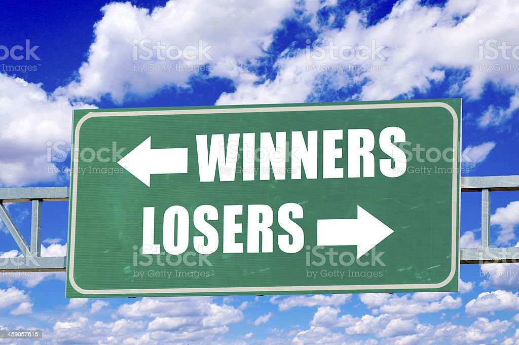 Winners and losers sign stock photo