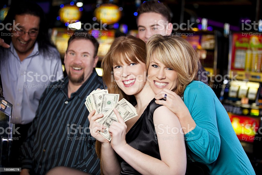 Winners: girlfriends celebrating a win royalty-free stock photo