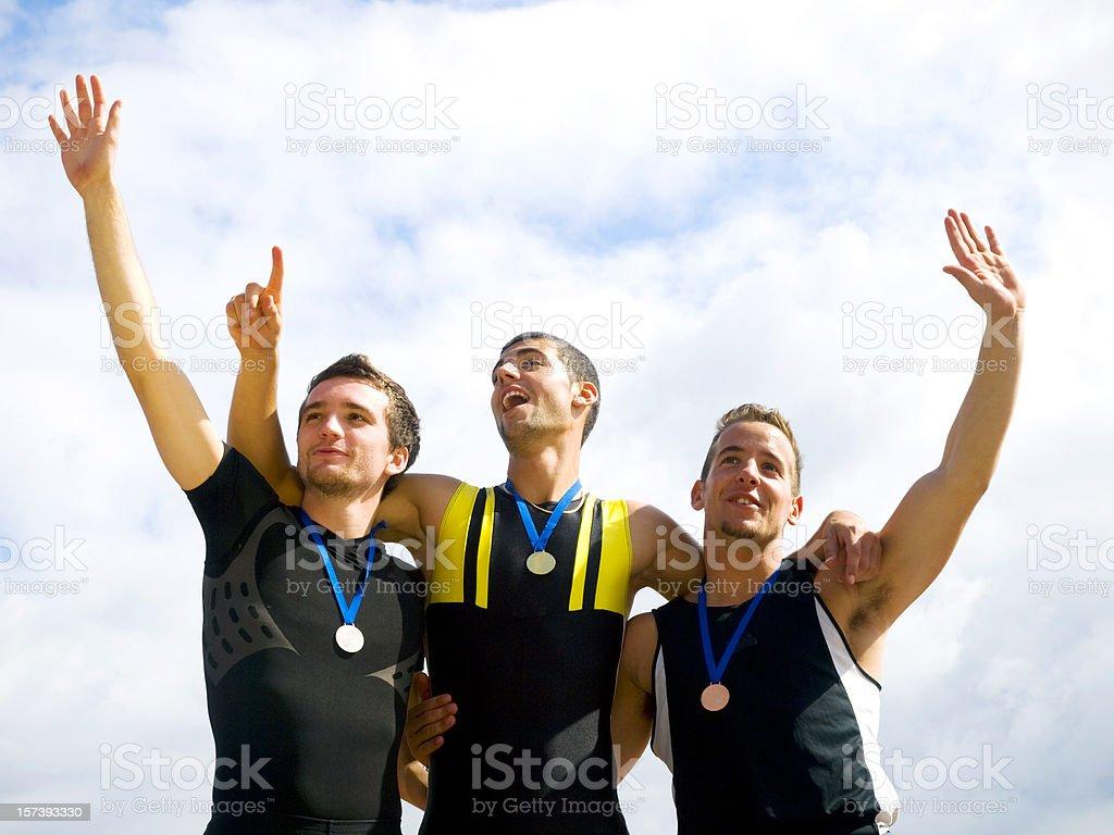 Winners on podium stock photo
