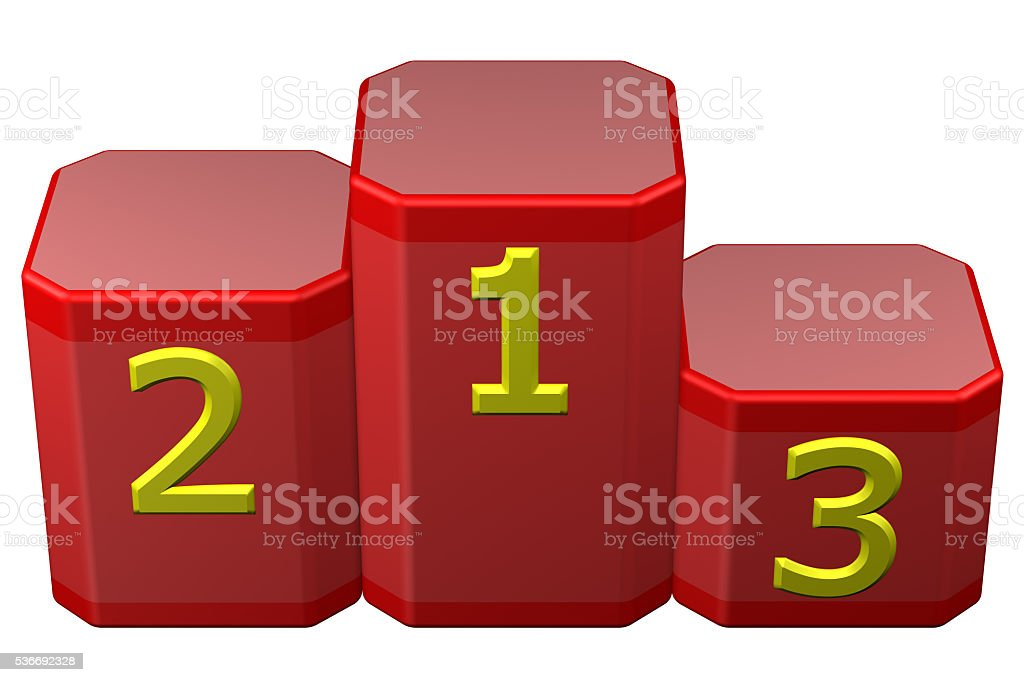 Winners podium with numerals. 3D rendering. stock photo