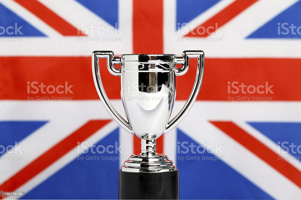 Winners Trophies with union jack royalty-free stock photo