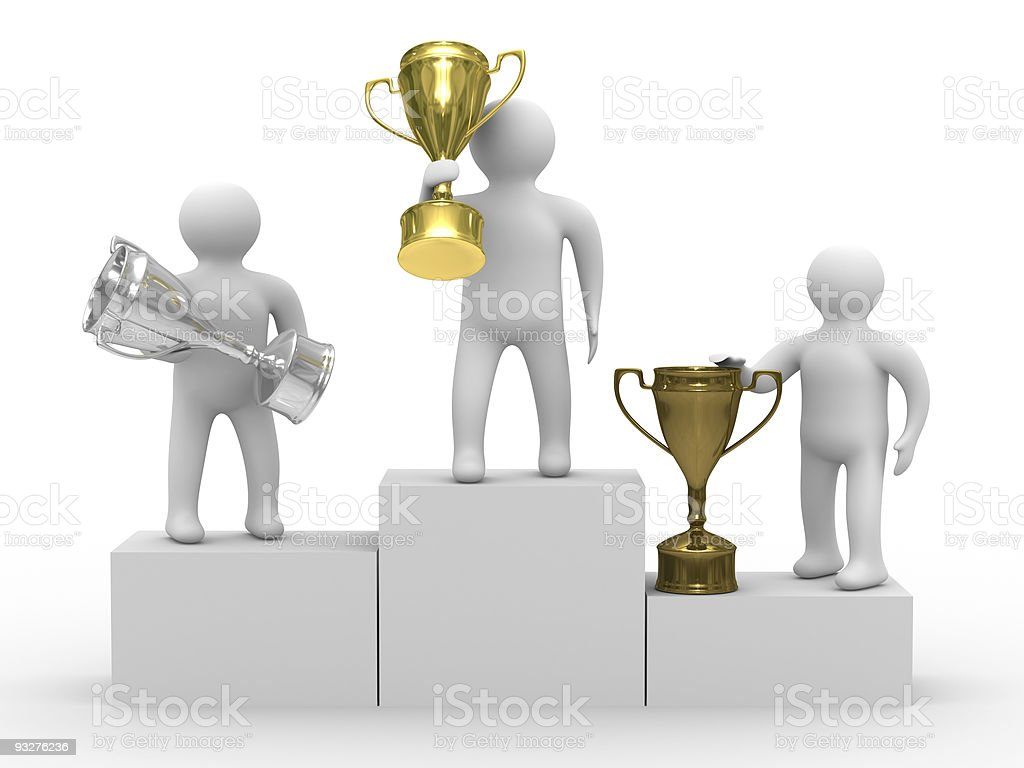 winners with cups on white background. Isolated 3D image royalty-free stock photo