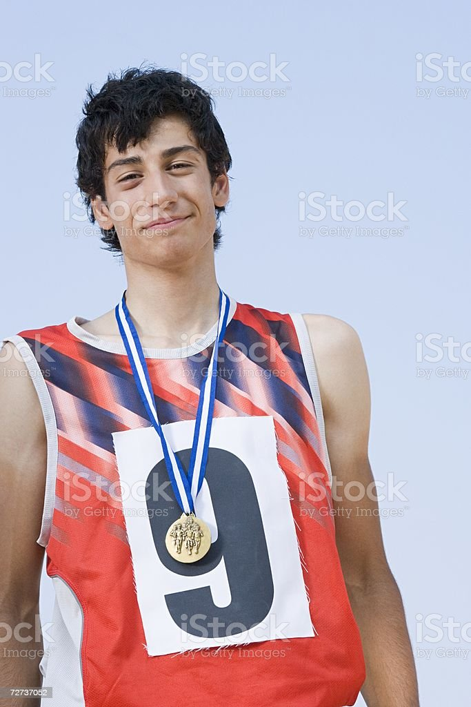 Winning athlete stock photo