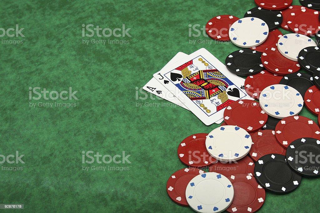 Winning blackjack hand stock photo