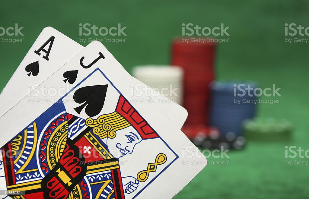 Winning blackjack hand with gambling chips stock photo
