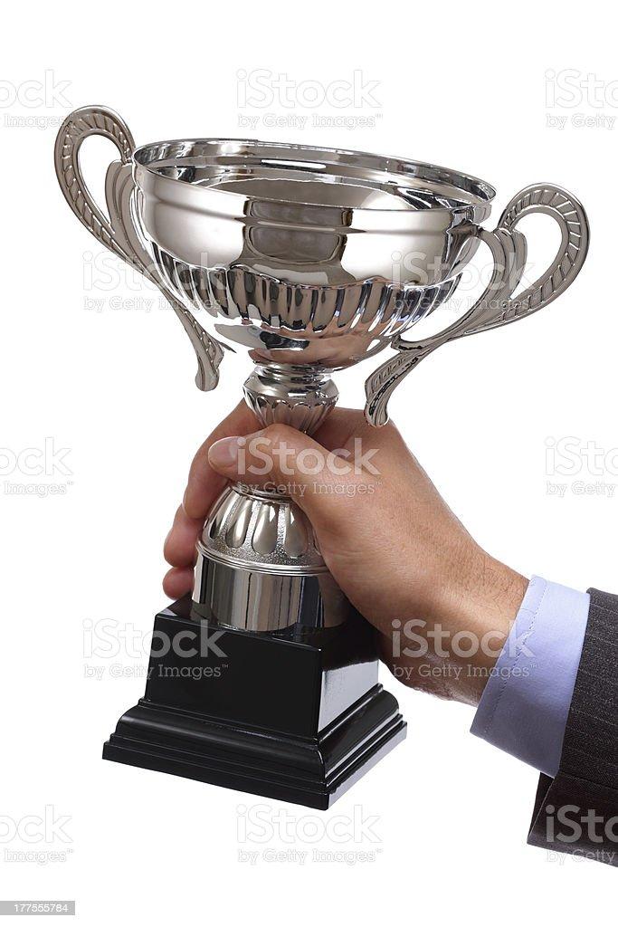 Winning business trophy stock photo