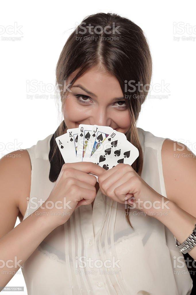 winning combination of cards stock photo