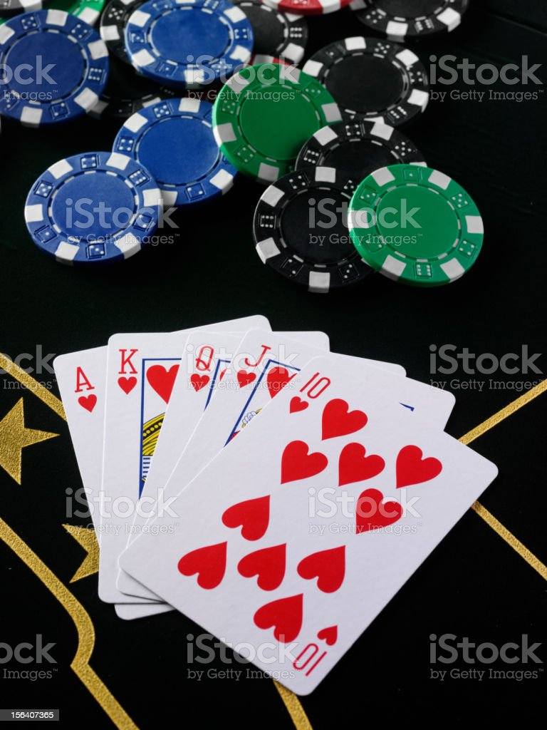 Winning Hand on a Poker Table stock photo