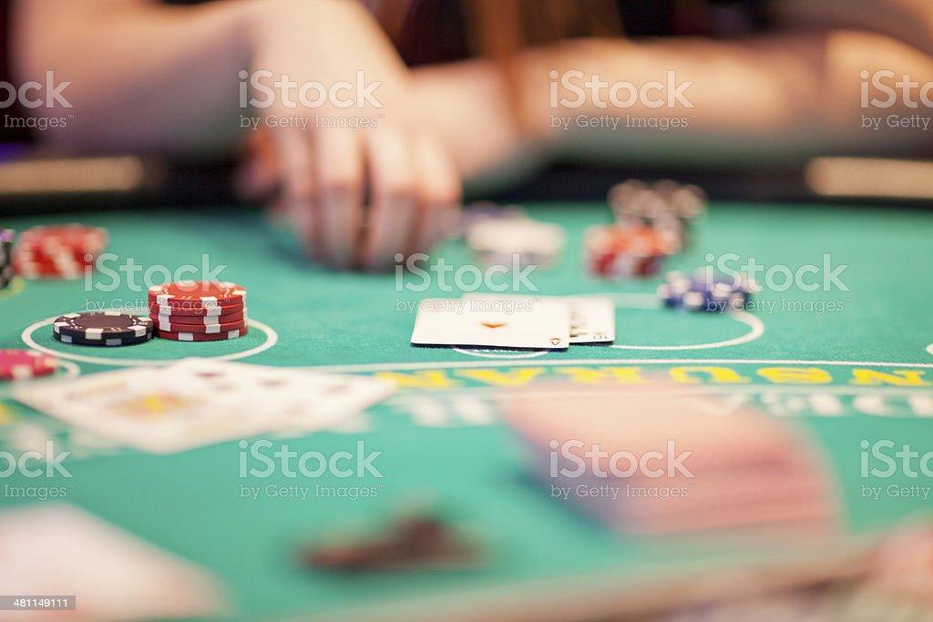 Winning hand: player has 21 in blackjack stock photo