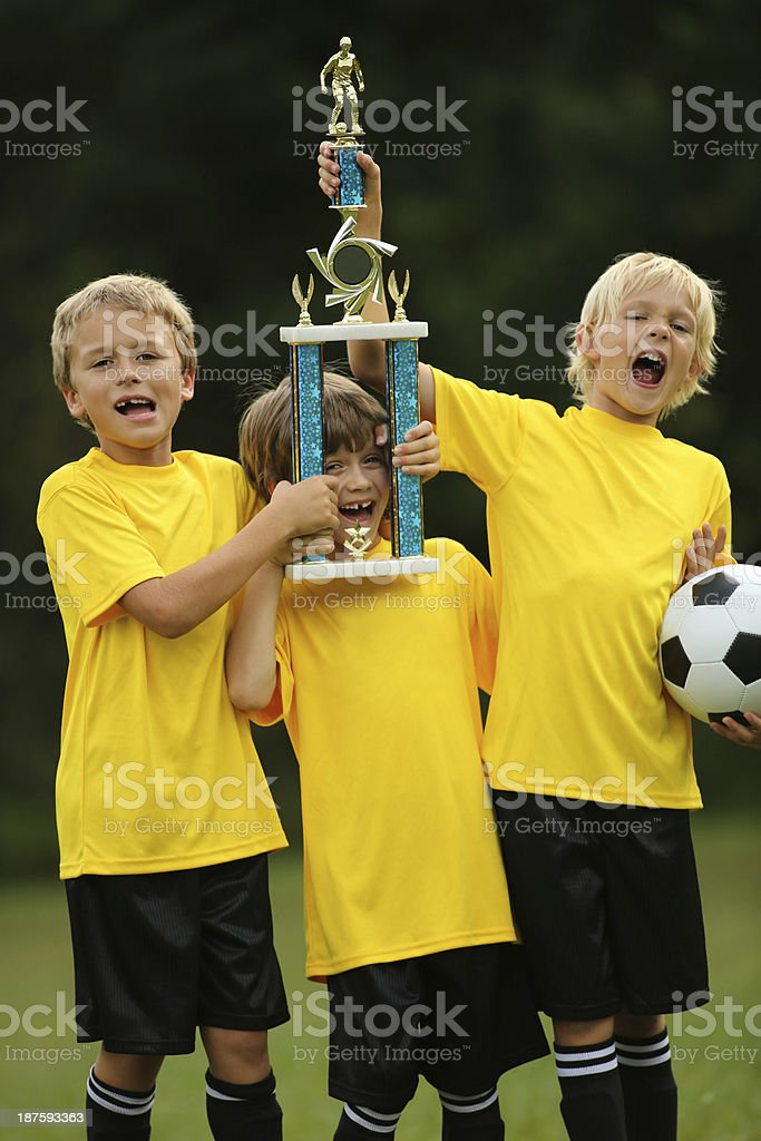 Winning Junior Soccer Team royalty-free stock photo