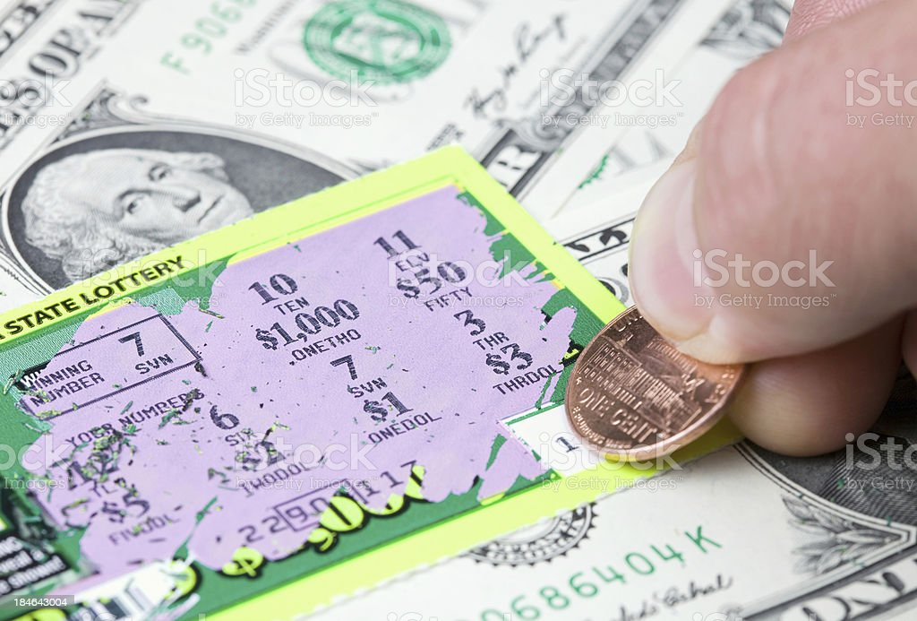 Winning Lottery Scratch Game Ticket stock photo