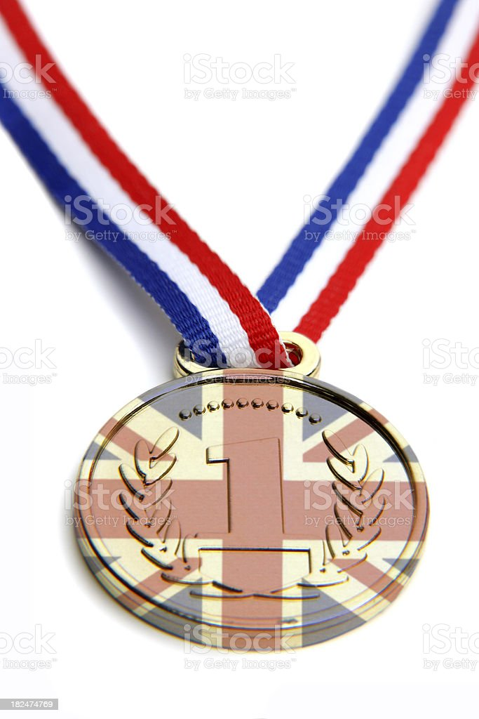 Winning medal with British flag royalty-free stock photo