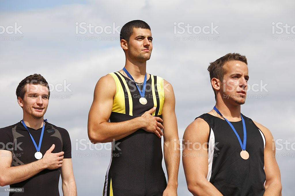 Winning podium stock photo