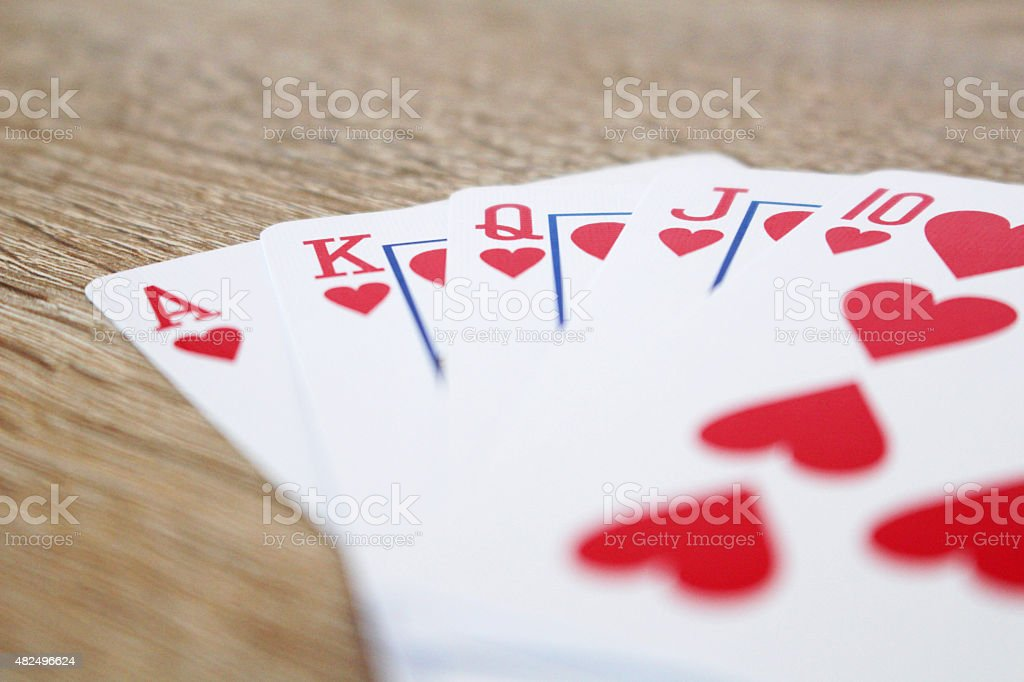 Winning poker game with royal straight flush stock photo