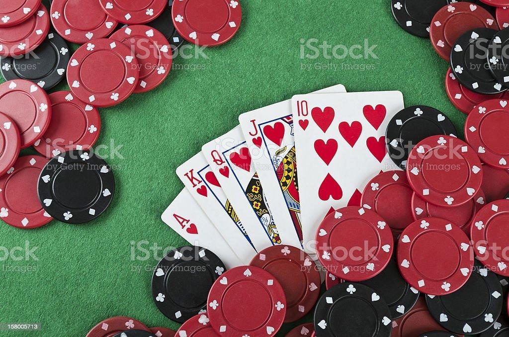 Winning poker hand royalty-free stock photo