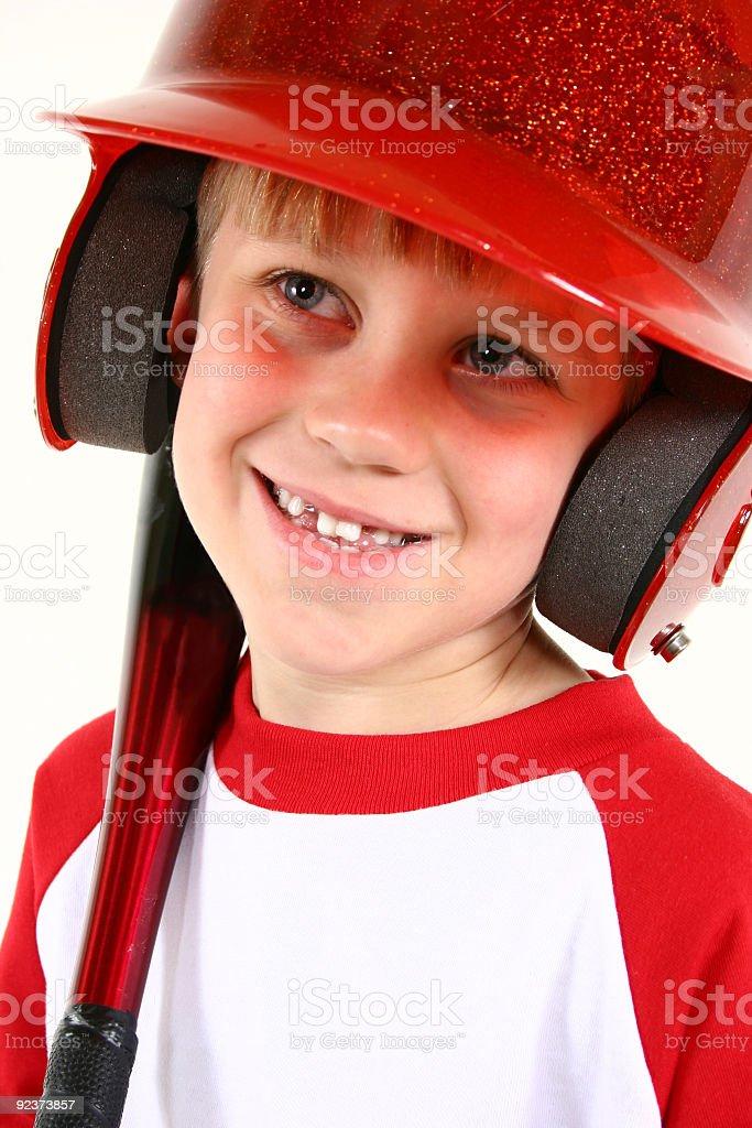 Winning smile on baseball player royalty-free stock photo