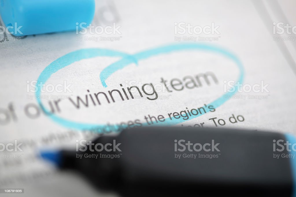 Winning team text circled in blue marker pen royalty-free stock photo