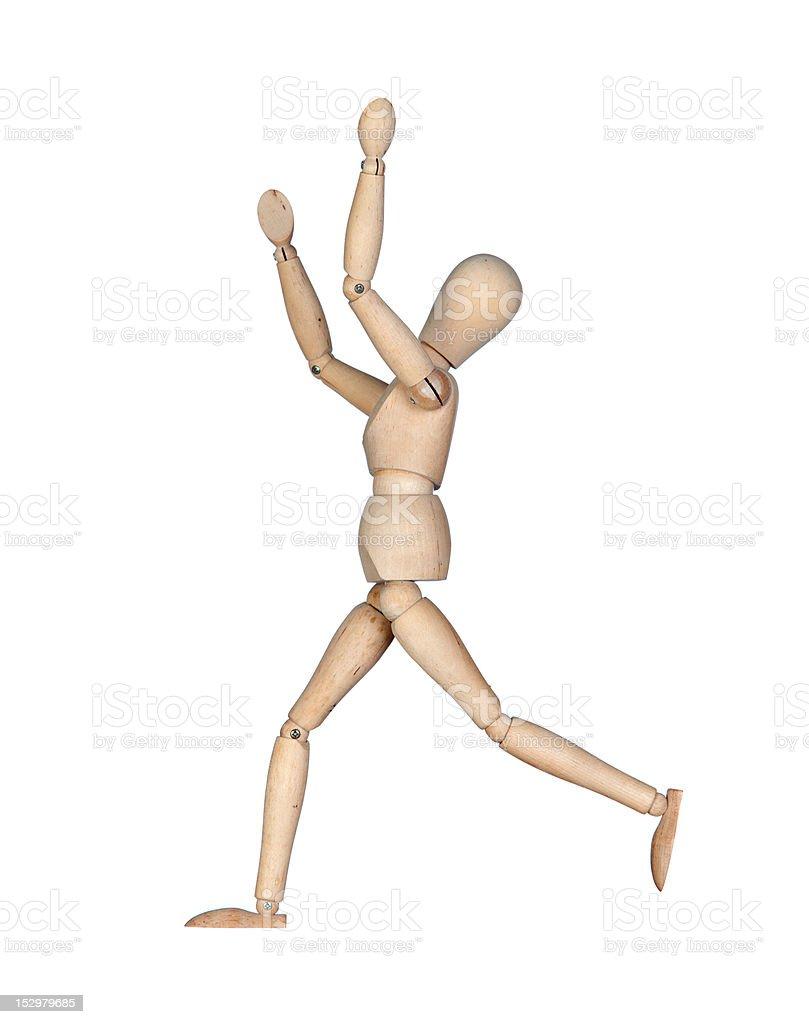 Winning wooden mannequin stock photo