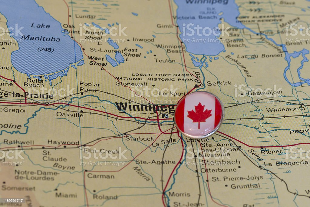 Winnipeg Canada Marked With Flag Pushpin on Map stock photo