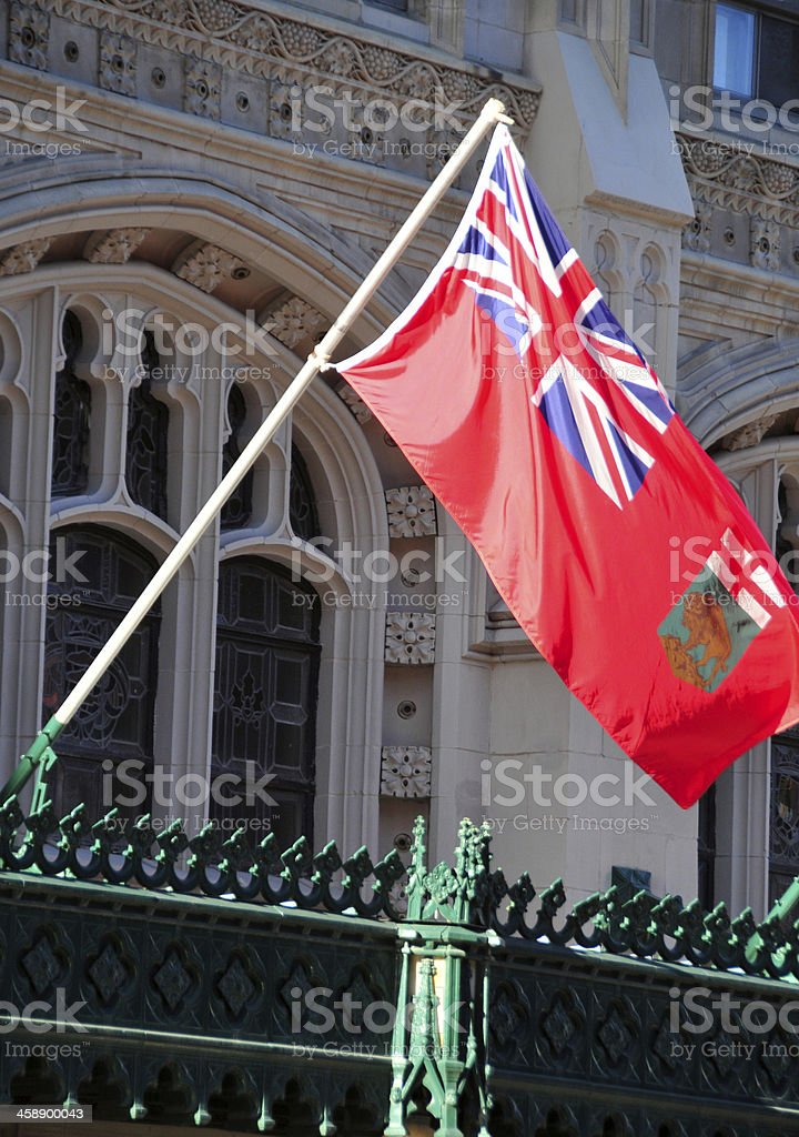 Winnipeg, Canada: Marlborough hotel - Manitoba flag stock photo
