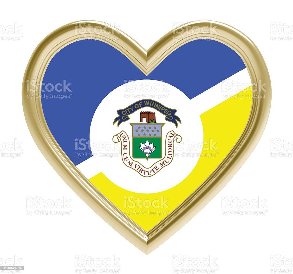 Winnipeg flag in golden heart isolated on white background. vector art illustration