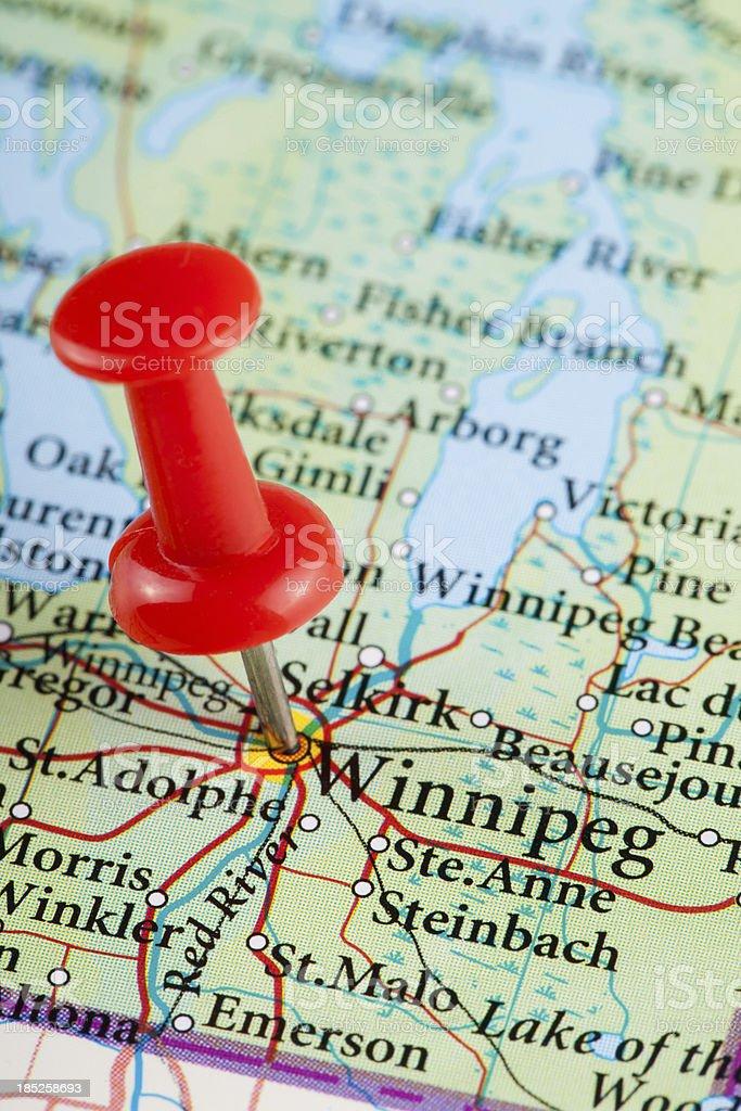 Winnipeg Map, Ontario - Canada stock photo