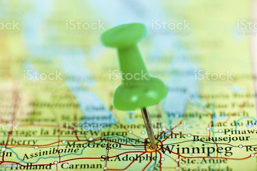 Winnipeg map with pushpin, Canada stock photo