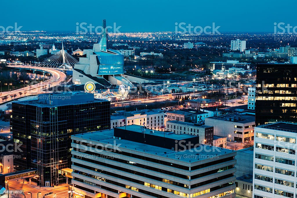 Winnipeg panorama at night stock photo