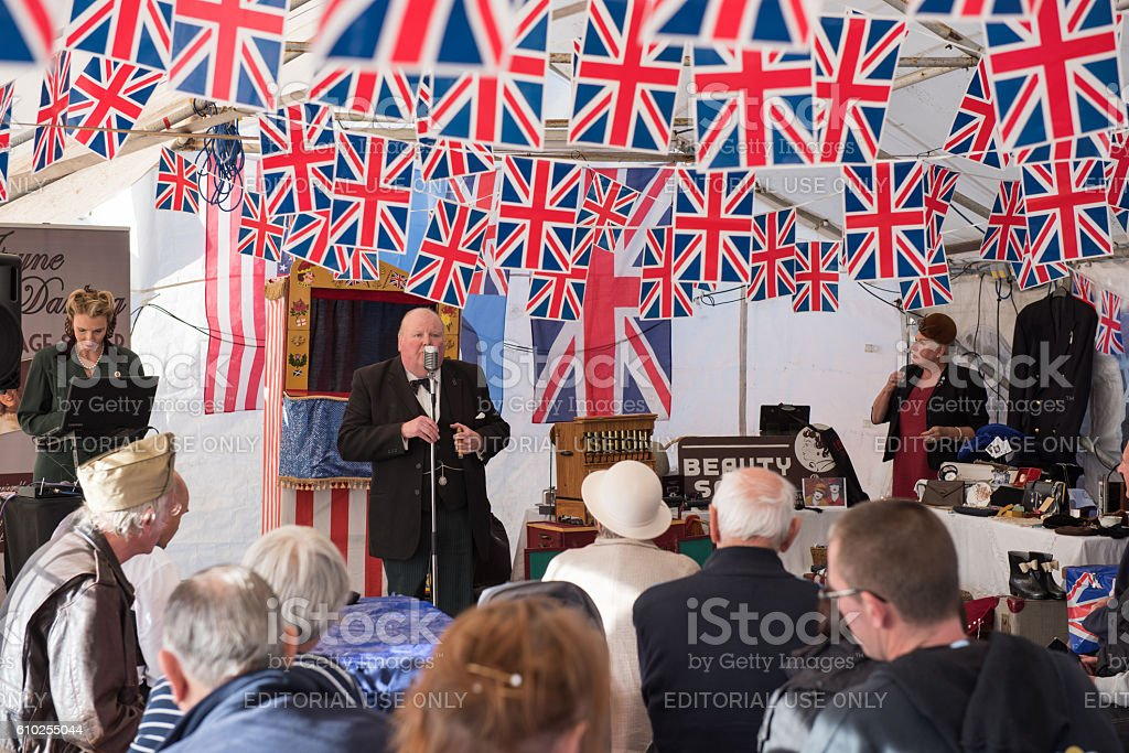 Winston Churchill look-alike in the Victory tent stock photo
